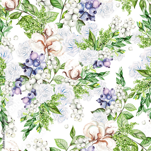 Türaufkleber Künstlich Beautiful Seamless pattern with watercolor tender roses and snowberry, cotton, and blueberries.