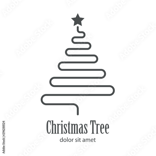 Photo Logotipo con texto Christmas Tree con árbol abstracto lineal como cable en color