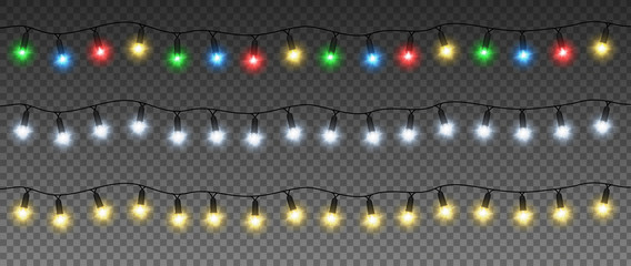 Set of Christmas garlands with colorful lamps: yellow, green, blue, red, white. Vector light effect. EPS 10