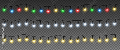 fototapeta na ścianę Set of Christmas garlands with colorful lamps: yellow, green, blue, red, white. Vector light effect. EPS 10