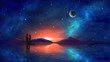 canvas print picture - Couple in embrace with colorful nebula, mountain and milky way reflection in water. Elements furnished by NASA. 3D rendering
