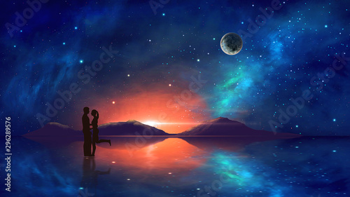 Fotografie, Obraz  Couple in embrace with colorful nebula, mountain and milky way reflection in water
