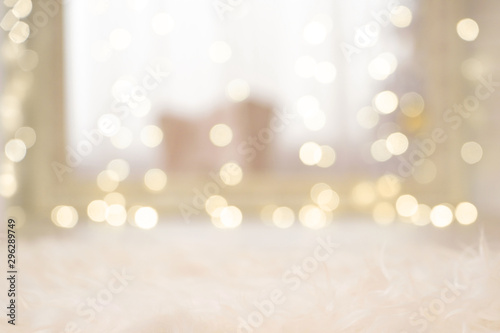 Defocused background with blurred Christmas light. New year magic bokeh lights in warm colours - 296289749