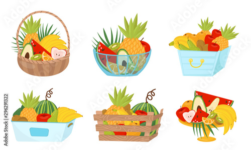 Fruit Basket Wealth Vector Illustrated Set On White Background Fototapete