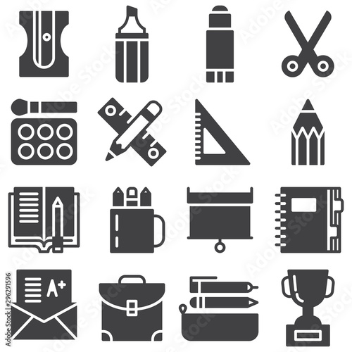 Fotografía  School supplies vector icons set, modern solid symbol collection, filled style pictogram pack