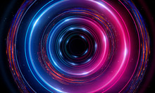 Futuristic Neon Circle On A Dark Background. Abstract Light Circle.