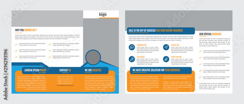 Trifold Business vector template Canvas-taulu