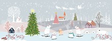 Panoramic Of Winter Landscapes With Snow,Vector Of Horizontal Banner Of Winter Wonderland With Cute Polar Bear Family Looking Up At Santa Claus And Reindeers In Sky,Merry Christmas And Happy New Year