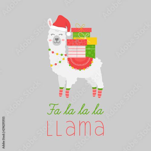 Christmas llama vector illustration Canvas Print