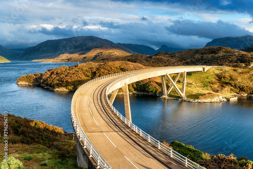 The curved Kylesku Bridge in Scotland Wallpaper Mural