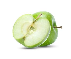 green apple fruit isolated on white background