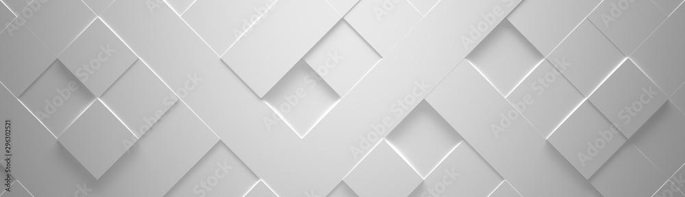 Fototapeta Wide White Geometric Background (Website Head) 3d Illustration