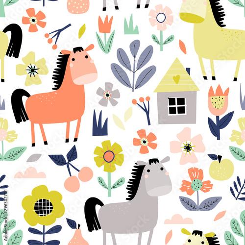 Obraz na plátně Horse hand drawn seamless pattern