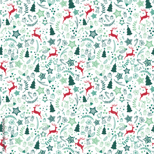 plakat Beautiful christmas doodles seamless pattern - hand drawn and detailed, great for christmas textiles, banners, wrappers, wallpapers - vector surface design