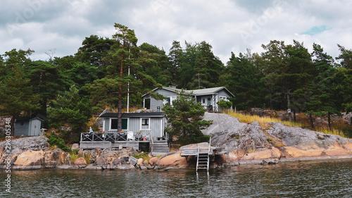 Summer house cabin in nordic archipelago nature Wallpaper Mural