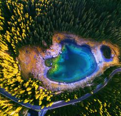 Fototapeta Rzeki i Jeziora Carezza lake in Dolomitesn or Lago di Carezza, aerial view in the Dolomites, South Tyrol, Italy..