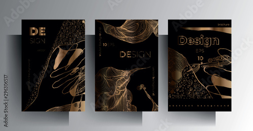 Set of design templates for cover, brochure, poster, card, background. Gold texture on a black background is manually drawn. Vector 10 EPS. A4 format.