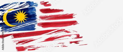Fotografía  Banner with grunge Malaysia flag