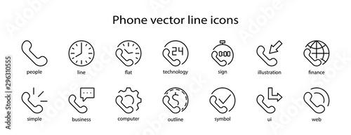 Fényképezés  Set of Phone vector line icons