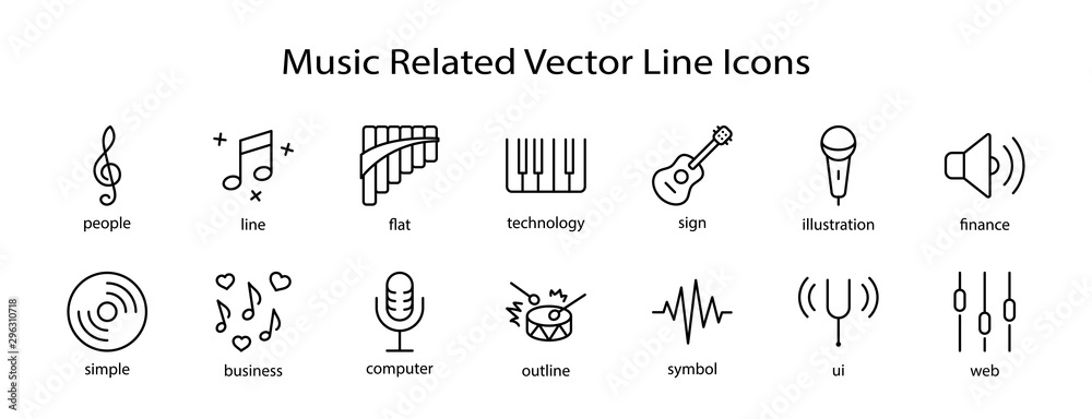 Fototapety, obrazy: Set of Music Related Vector Line Icons. Contains such Icons as Pan Flute, Piano, Guitar, Treble Clef, In-ear and more. Editable Stroke. 32x32 Pixel Perfect
