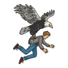 Eagle Bird Of Prey Kidnaps Human Person Sketch Engraving Vector Illustration. T-shirt Apparel Print Design. Scratch Board Style Imitation. Black And White Hand Drawn Image.