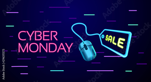 Fotografía  Cyber Monday colorful neon style conceptual sign sales background, banner, poste