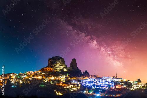 Stars over Uchisar castle in Cappadocia