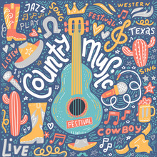 Country Music Illustration Set For Postcards Or Festival Banners. Guitar With Hand Written Lettering. Vector Hand Drawn Simple Dark Concept.