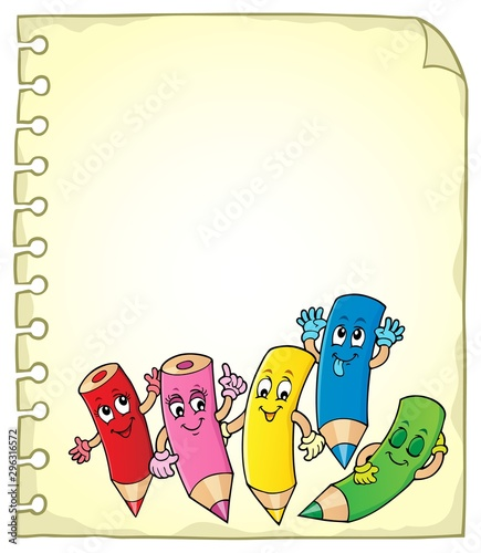 Montage in der Fensternische Für Kinder Notepad page with happy wooden crayons