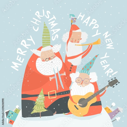 Funny Santa Clauses playing musical instruments. Merry Christmas