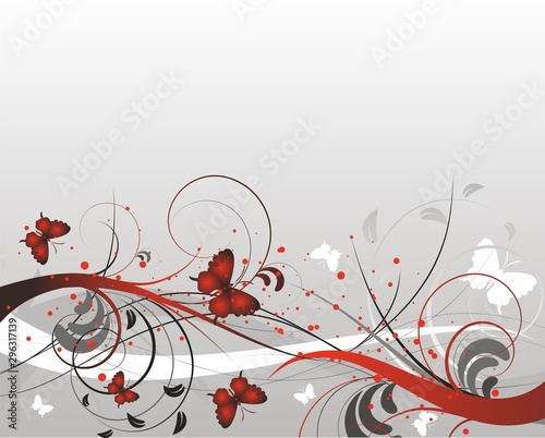 Printed kitchen splashbacks Butterflies in Grunge Fondo gris con mariposas