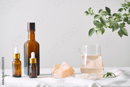 Fresh leaf. Objects for spa procedures on white background oil, leaf.