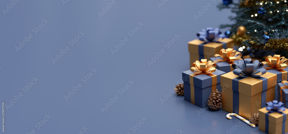 Fototapety, obrazy: Christmas background with christmas gifts decoration - 3d rendering