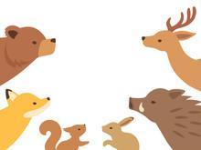 見上げる森の動物たちのイラスト