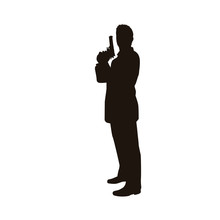 People Holding Firearms Silhouette