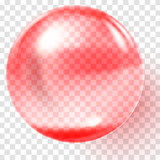 Realistic red glass ball. Transparent red sphere