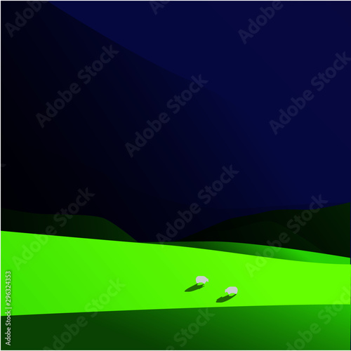 Aluminium Prints Violet Rolling fields of grass and dark skies vector landscape