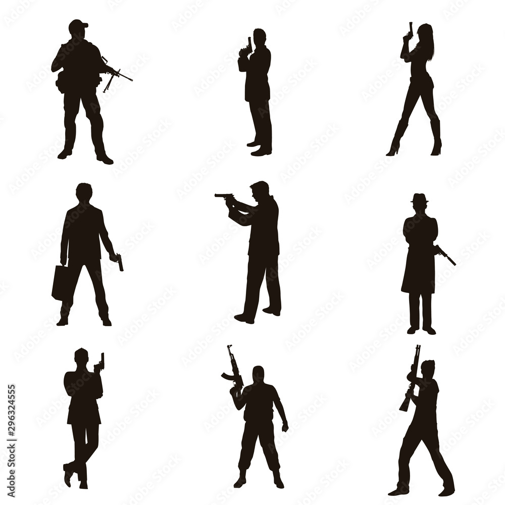 Fototapety, obrazy: People Holding Firearms Silhouettes