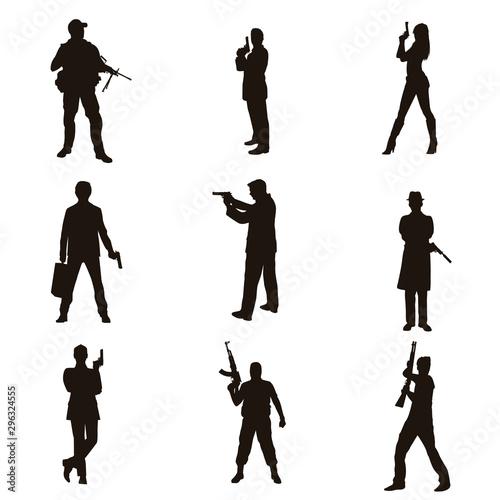Fotografía  People Holding Firearms Silhouettes