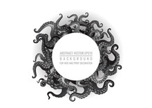 Futuristic Background With Black And White Tentacles Of An Octopus Frame