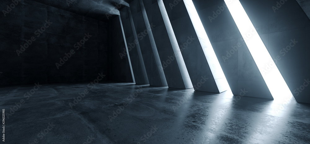 Fototapeta Huge Big Dark Hall Garage Tunnel Corridor Car Empty Studio Background White Windows Light Glow Cement Asphalt Concrete Grunge Dark Tall 3D Rendering - obraz na płótnie