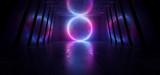 Fototapeta Scene - Neon Glowing Sci Fi Futuristic Alien Spaceship Circle Shaped Laser Beam Purple Blue Dark Hall Underground Tunnel Corridor Realistic Stage Night Virtual Path Gate 3D Rendering