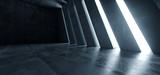 Fototapeta Perspektywa 3d - Huge Big Dark Hall Garage Tunnel Corridor Car Empty Studio Background White Windows Light Glow Cement Asphalt Concrete Grunge Dark Tall 3D Rendering