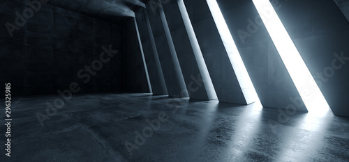 Huge Big Dark Hall Garage Tunnel Corridor Car Empty Studio Background White Windows Light Glow Cement Asphalt Concrete Grunge Dark Tall 3D Rendering - 296325985
