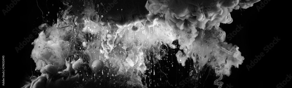 Fototapety, obrazy: Acrylic white colors and ink in black water. Ink blot. Abstract background. Horizontal long banner..