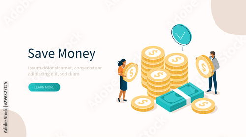 Fototapeta  People Characters Standing near Gold Coins Stack and Banknotes Bundle. Woman and Man Holding Dollar Coins. Saving Money or Cash Back Concept. Flat Isometric Vector Illustration. obraz