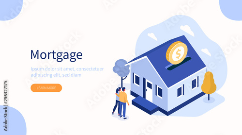 Family Buying Home with Mortgage and Paying Credit to Bank. People Invest Money in Real Estate Property. House Loan, Rent and Mortgage Concept. Flat Isometric Vector Illustration. - 296327175