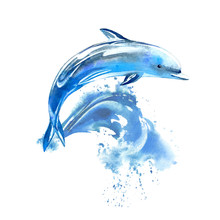 Blue Dolphin And Wave.Watercolor Hand Drawn Illustration. Underwater Animal Image.