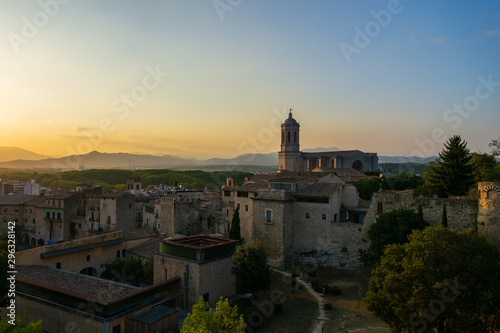 Aerial panorama view of medieval Girona with Gothic St Mary Roma