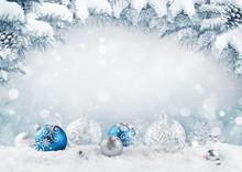 Merry Christmas Card. Blue Chr...